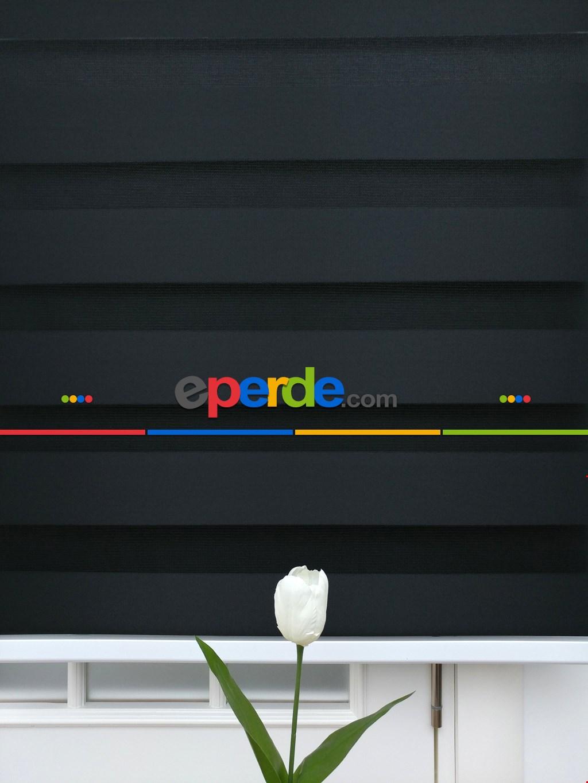 Zebra Perde-tual Siyah Renk Düz Zebra Perde