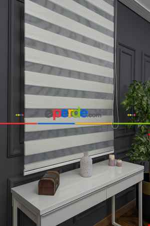 Salon Zebra Perde - Zebra Perde- Batik Ekru Renk Bambu Zebra Perde (kalın Zeminli)- Ekru