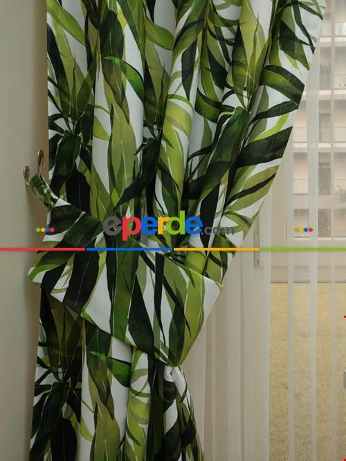 Tropikal Yapraklı Dekoratif Fon Perde Kumaşı- Kumaşı Kalındır