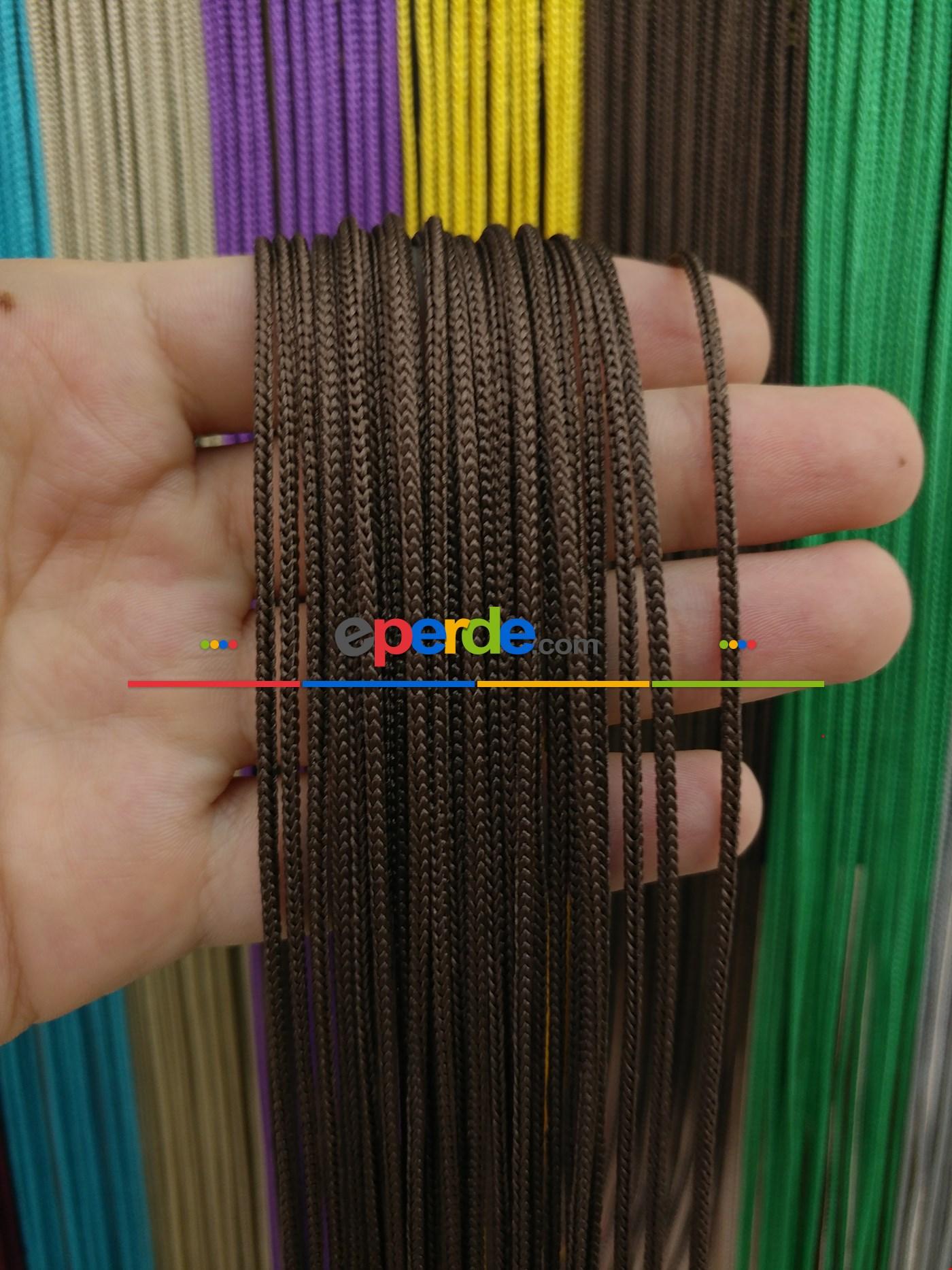 Krem Rengi İp Perde Kalın Zincir Serisi Kahverengi