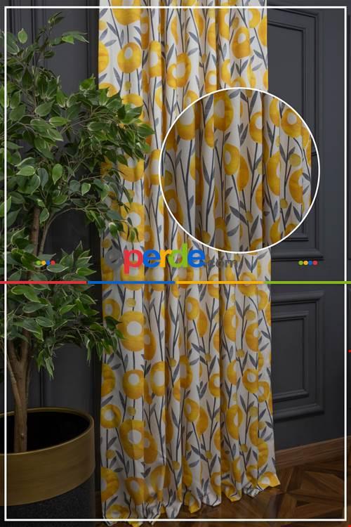 Çiçek Desen Çift Kanat Pilesiz (162x262) Fon Perde 1. Kalite 162cm X 262cm