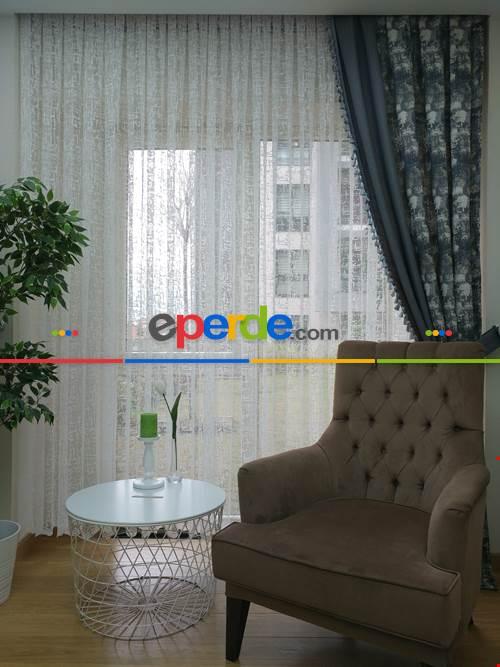 Salon Yatak Odası Fransız Dantel 2021 Tül Perde- Ekru Patine Desenli