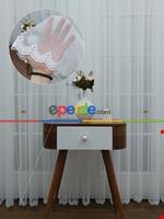 Ekru Fransız Dantel Düz Tül Perde Etek Ucu Nakış İşlemeli Ekru