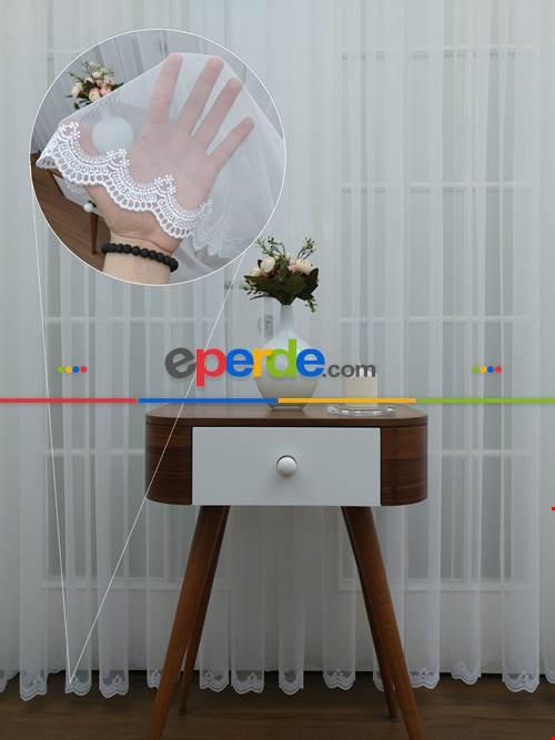 Ekru Fransız Dantel Etek Ucu Güpür İşlemeli Salon Perdesi 2021- Ekru