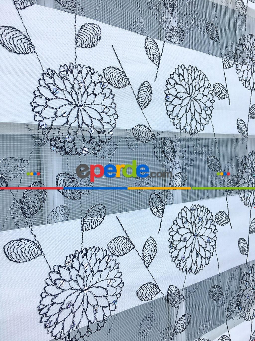 60x200 - Hazır Zebra Perde - Pullu - Siyah - Brode İşlemeli