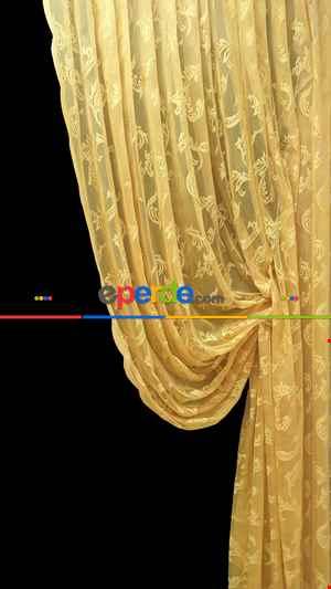 Tül Fon Hardal Koyu Sarı Renk Model Büzgülü Tasarım Fon Perde- Hardal 70cm X 270cm