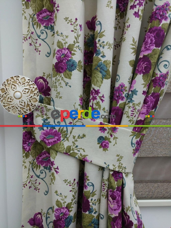 Çiçek Desen Fon Perde ( Leke Tutmaz )
