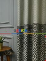 Modern Pano Fon Perde Bantlı Çift Renk - 501- Kiremit Rengi-kum Beji Gri Füme Antrasit - Krem