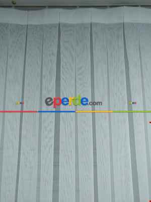 2021 Sezonu - Düz Buzlu Zemin Tül - Keten Efektli İplikten Ekru Tül - Ütü İstemez- Ekru