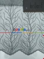 Ağaç Desenli Kabartma Nakış İşlemeli Tül Perde Brilliant 2018 Füme