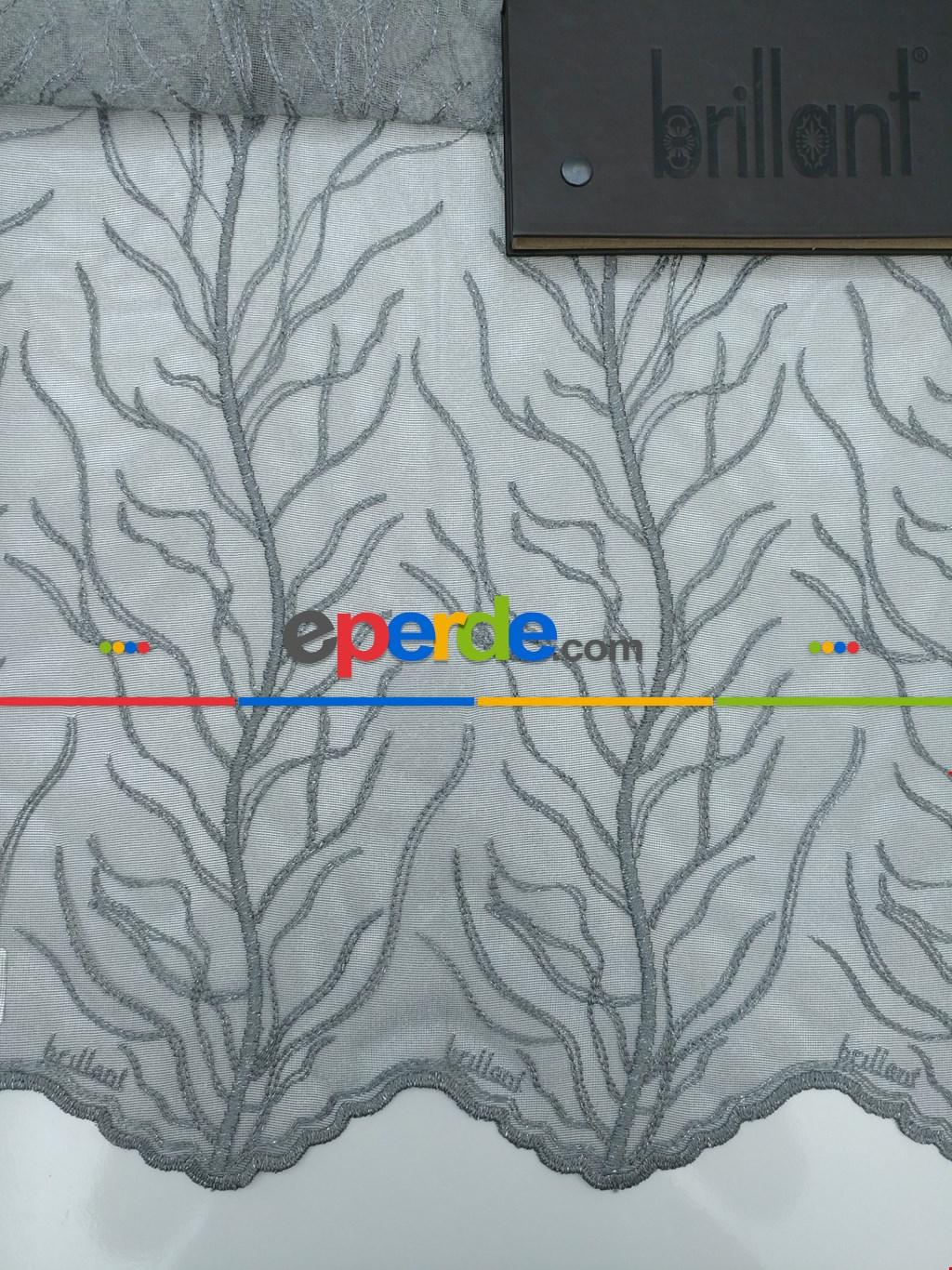 Ağaç Desenli Kabartma Nakış İşlemeli Tül Perde Brilliant 2018