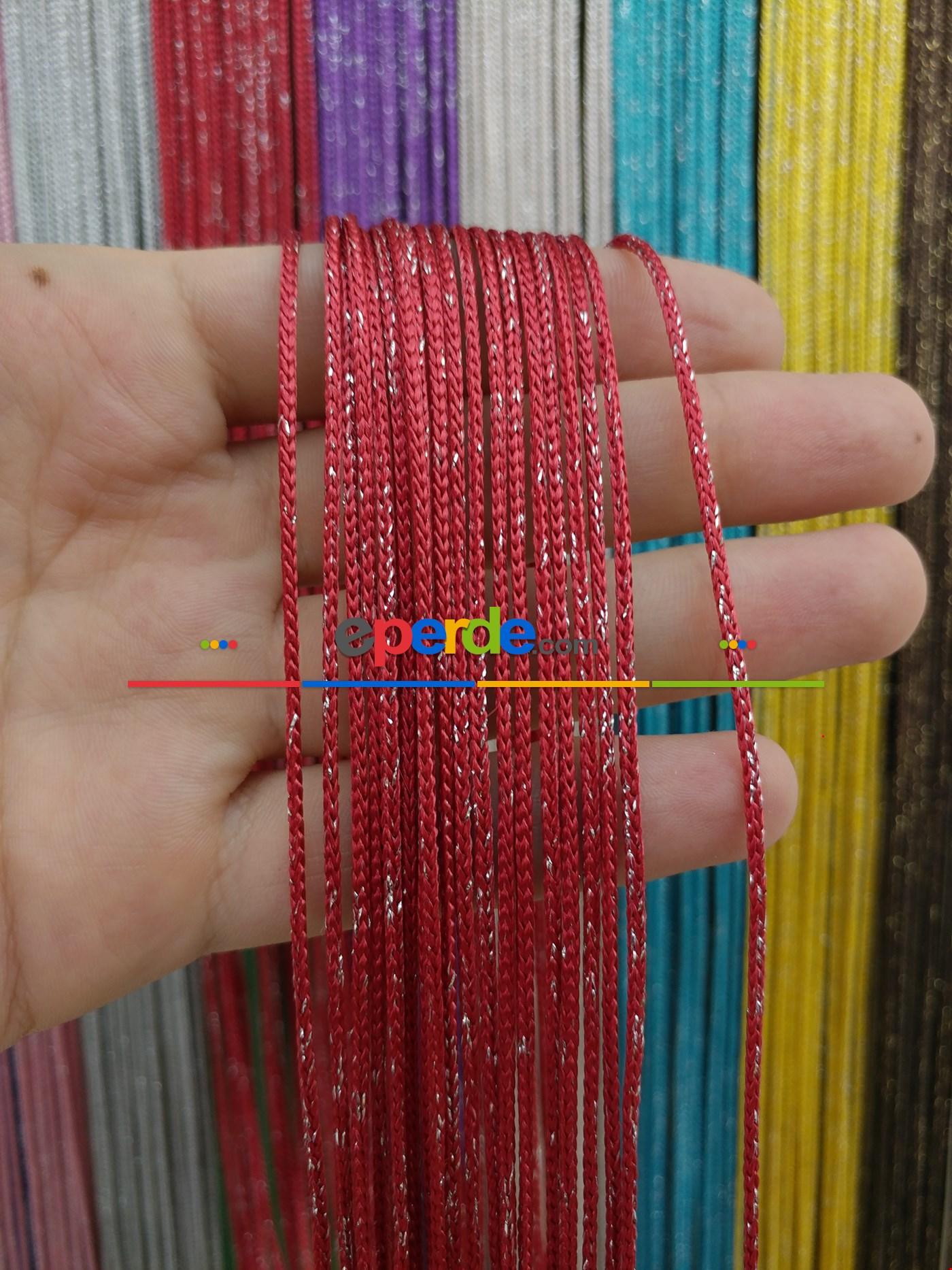 Bej Rengi İp Perde Kalın Zincir Simli Serisi Kırmızı - Gümüş