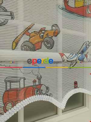 Baskılı Çiftli Sistem Tülü Y-kids Series- Mavi-kırmızı-hardal Sarısı