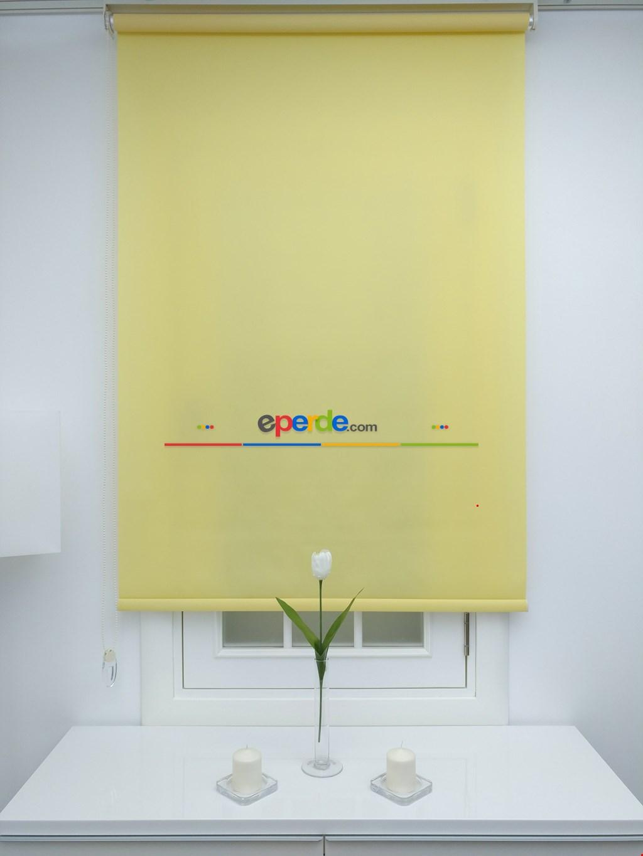 Sarı Stor Perde Düz Seri (polyester Saten)