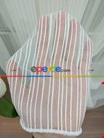 Krem Rengi / Pudra Detaylı - Boyuna Çizgili Keten Tül Perde Krem - Ekru