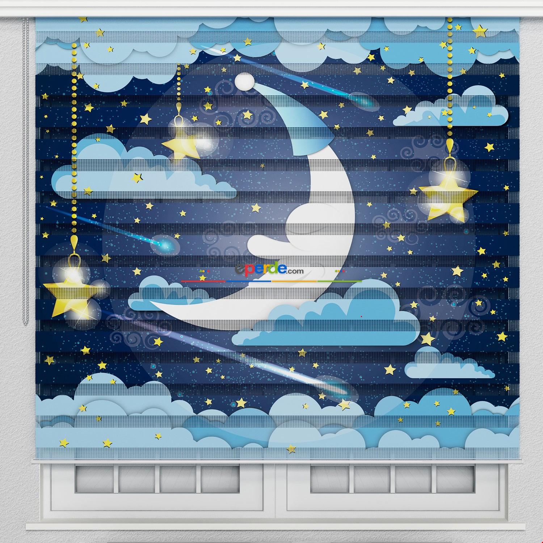 Gece Ay Ve Bulutlar Özel Poster Baskılı Zebra Perde