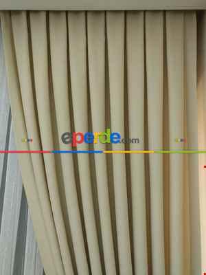 Açık Krem Rengi - Düz Keten Fon Perde ( En 180cm Keten Fon Perde)- Taş Rengi