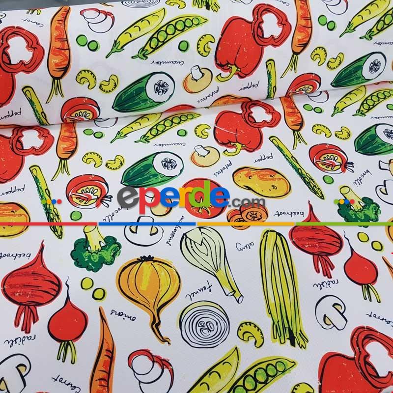 Mutfak Perdesi Kanat Fon Perde Sebze Desenli- Yeşil