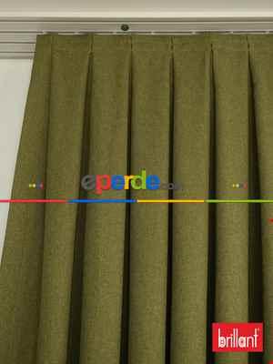 Salon - Brillant Keten Yeşil Renk Düz Fon Perde 180cm- Yeşil