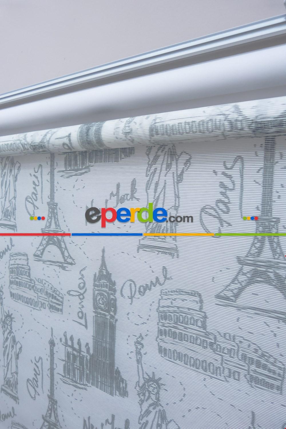 Paris, Newyork, London Desenli Çiftli Sistem Stor Perde