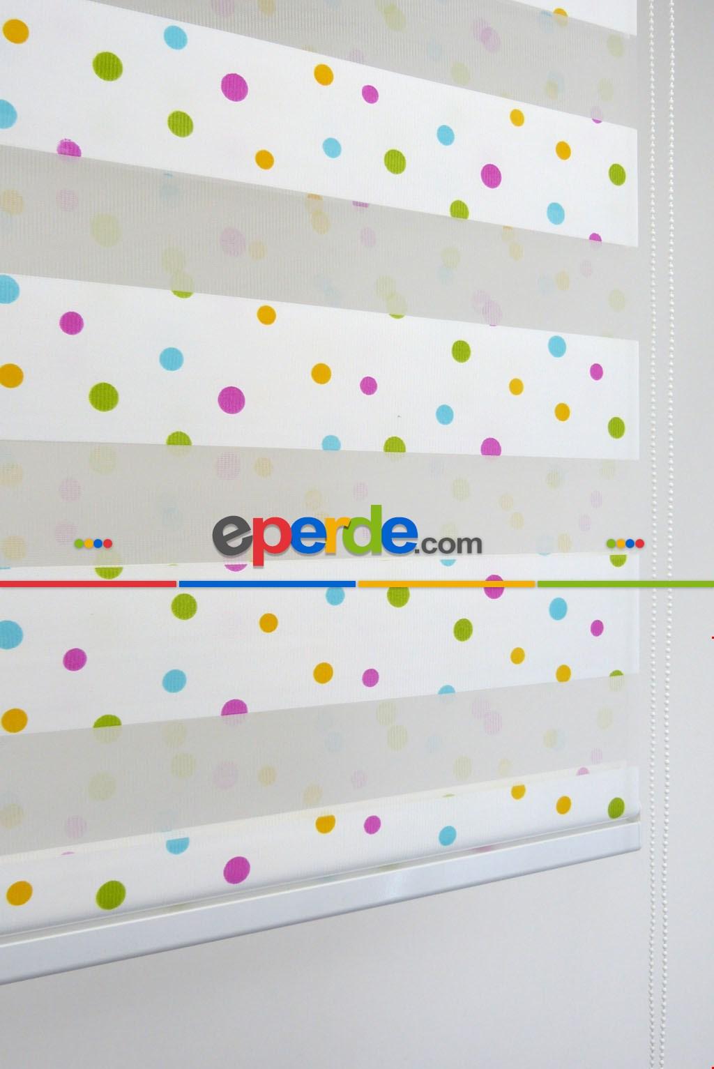 Renkli Basklı Çocuk Odası Zebra Perde Sarı - Turkuaz - Eflatun