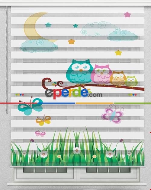 Baykuşlar Ve Ay Vektör Özel Poster Baskılı Zebra Perde