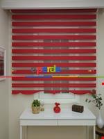 Zebra Perde - Düz Zebra Perde- Siyah Kırmızı