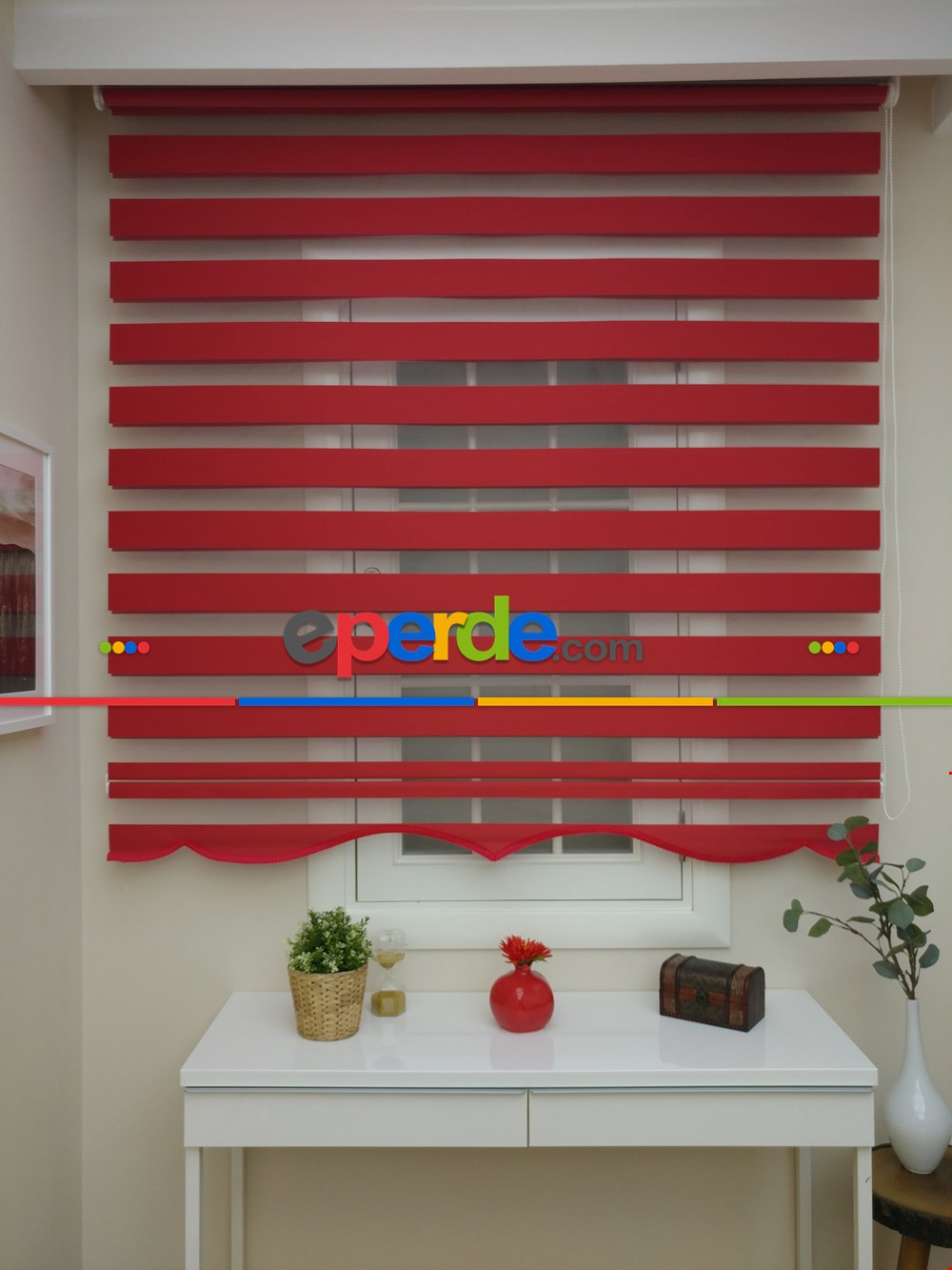 Salon Zebra - Zebra Perde - Düz Zebra Zebra ( Eco Serisi )- Kırmızı