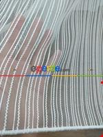 Krem Rengi / Pudra Detaylı - Boyuna Çizgili Keten Tül Perde Mavi Açık