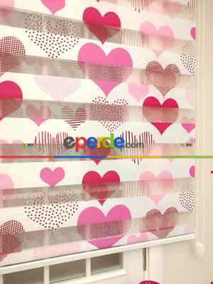 Zebra Perde - Kalp Baskılı Çocuk Ve Genç Odası