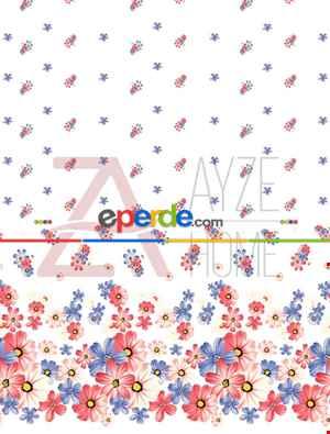 Salon Ve Oturma Odası - Çiçekler Özel Poster Baskılı Zebra Perde
