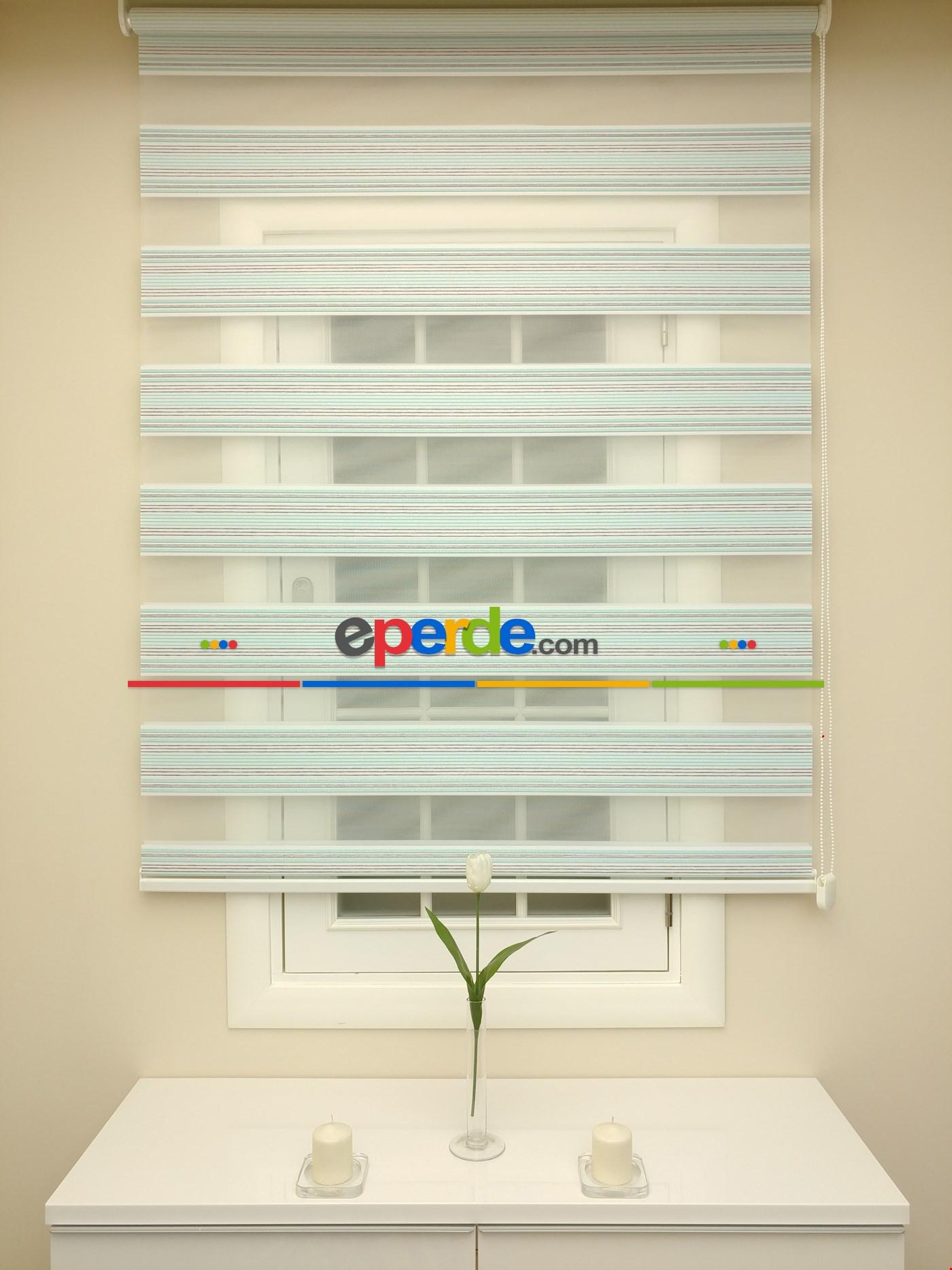 Zebra Perde - Alin Pembe-gri Renk Simli Üst Alt Pileli (kalın Zeminli) Turkuaz Yeşili Ara Renk