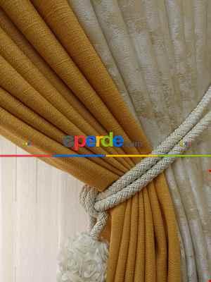 Salon Perdesi - Hardal Sarı Krem Bej Renk Kombinli Jakar Desenli Fon Perde- Krem