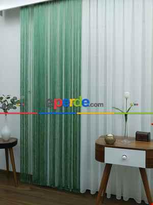 Yeşil ( Altın Simli ) - İp Perde Simli Seri- Yeşil-Altın Simli