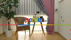 Salon Perdesi - Gri Pembe Renk Kombinli Desenli Fon Perde- Gri-Füme-Antrasit