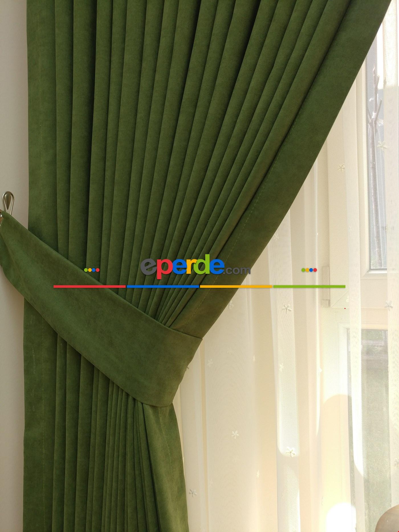 Antrasit Gri Düz Fon Perde Dökümlü Birinci Kalite 300 Cm Geniş En Daha Hesaplı Yeşil