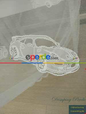 Çocuk Odası Tül Perde - Yarış Arabası Desenli Tül Perde- Ekru