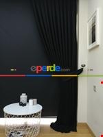 Gri Düz Renk Dökümlü Fon Perde (150)- Gri Siyah