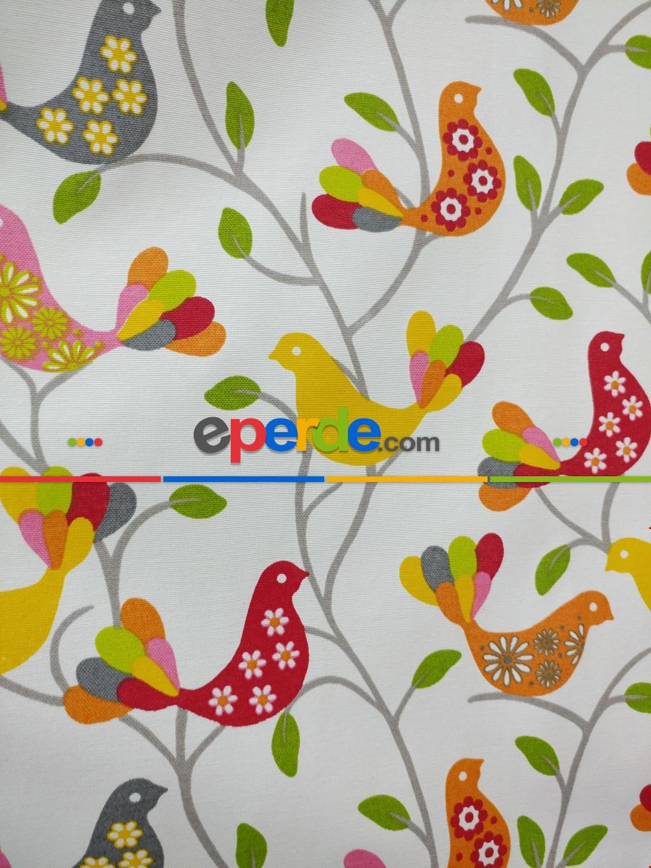 Kuşlar Desenli Fon Perde Sarı+kırmızı+yeşil