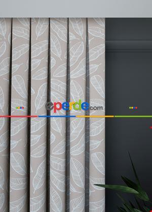 Geniş En Bej Renk Yaprak Desenli Fon Perde 1. Kalite Çok Dökümlü