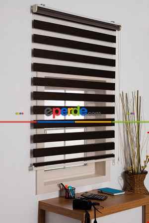 Kahverengi Mutfak Perdesi Zebra Perde Düz Seri- Acı Kahve