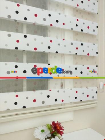 Brillant Renkli Basklı Çocuk Odası Zebra Perde- Siyah-Kırmızı-Beyaz