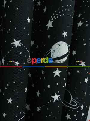 Uzay Gezegen Desenli Fon Perde Evm667 Kumaşı Kalındır Duck Bezi Değildir- Siyah-Beyaz