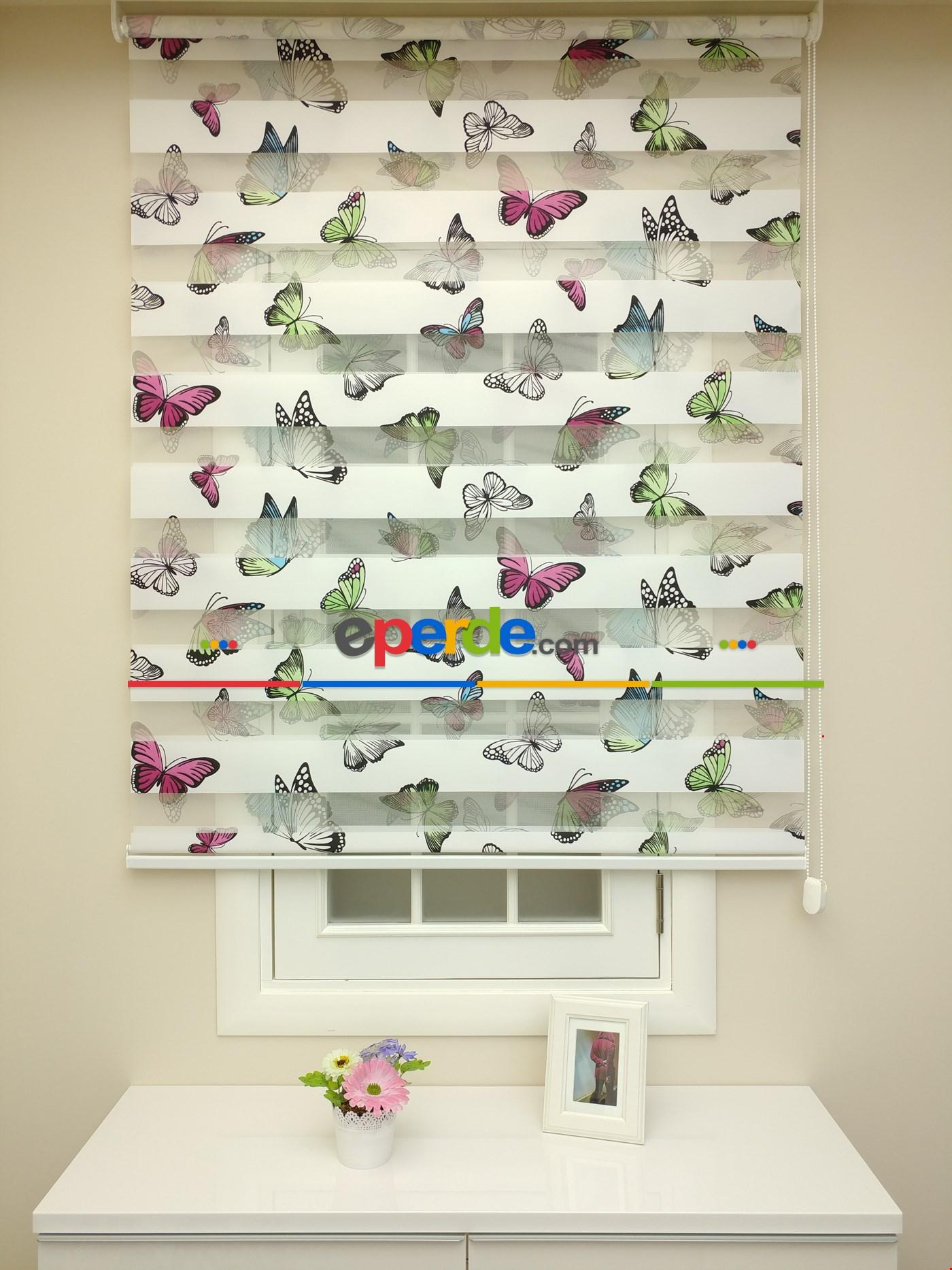 Zebra Perde - Kelebek Baskılı Çocuk Ve Genç Odası Yeşil - Mavi - Pembe - Mor
