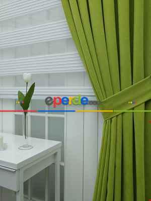 Fıstık Yeşili Düz Fon Perde (280 Eninde)- Fıstık Yeşili