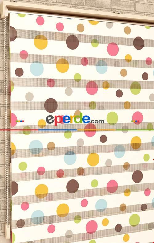 Renkli Puantiyeler - Baskılı Zebra Perde