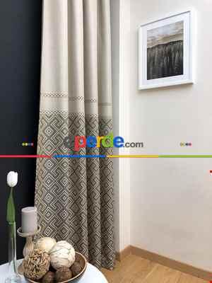 1. Kalite Desenli Fon Perde - 2021 Serisi- Krem-Bej-Açık Vizon