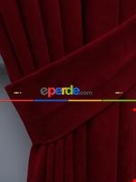 Kahverengi Düz Fon Perde (280 Eninde)- Kahverengi Kırmızı