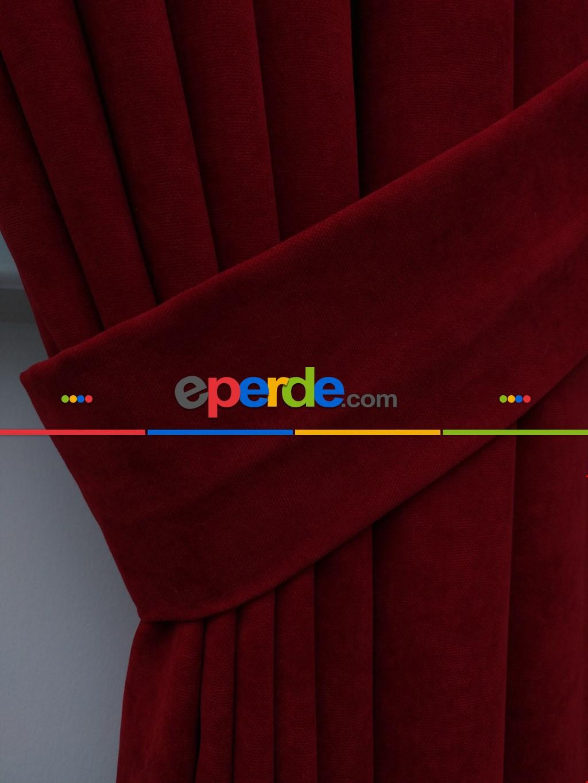 Kırmızı Düz Fon Perde (280 Eninde)