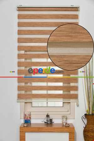 Salon Zebra Perde -Indirimli !!! Zebra Perde Kahverengi Bambu Ozel Fiyat- Kahverengi